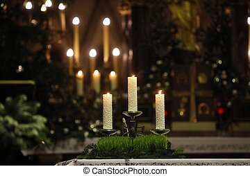 bougies, église, brûlé, autel