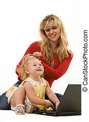bebê,  laptop, mãe