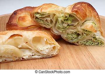Burek pie with meat, cheese or spinach is traditional...