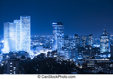 Night Cityscape - Tel Aviv  Skyline at night