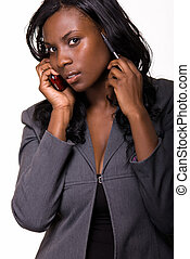 Business woman on the phone - Attractive African american...