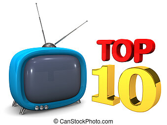 Blue TV Top 10 - Blue TV with text Top 10 on the white...