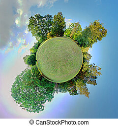 Little planet - Globe at summer time - 360 degrees panorama