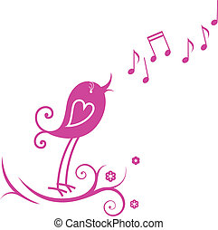bird and musical notes - Bird and musical notes