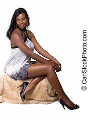 Woman in short dress - Full body of an attractive African...