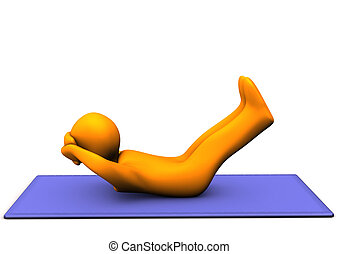Situps - Orange cartoon character makes situps. White...