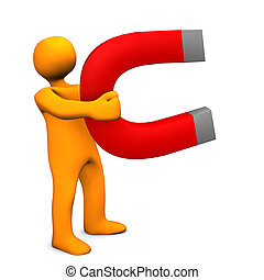 Magnetic Man - Orange cartoon character with big magnet....
