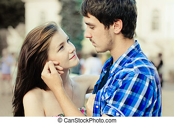 Happy young couple in love in city - Happy young teenage...
