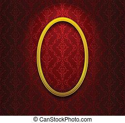 Elliptic frame on red wallpaper - Golden elliptic frame on...