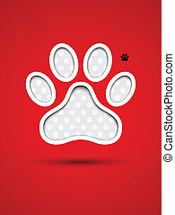 Cut out animal footprint - Cut out red card with animal...