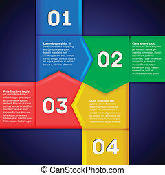 Infographics with square of numbered pointers - Infographics...