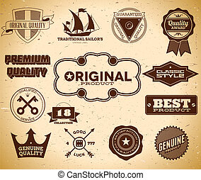 Vintage labels. Collection 18 - Set of vintage labels on the...