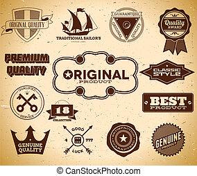 Vintage labels. Collection 18 - Set of vintage labels on the...