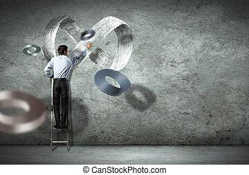 empresa / negocio, hombre, dibujo, infinito, señal