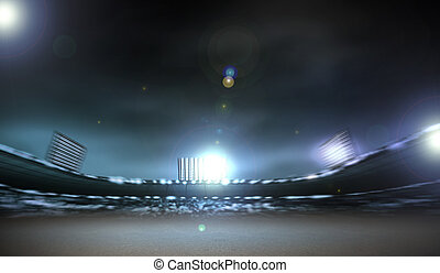 Stadium lights - Image of defocused stadium lights at night