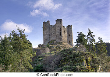old ruin of french castle in France. Alleuze castle