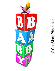 "Baby Cubes - Cubes with the text ""baby"". White background."