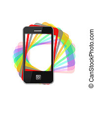 Modern phone of type ipad with color shadows - image of...