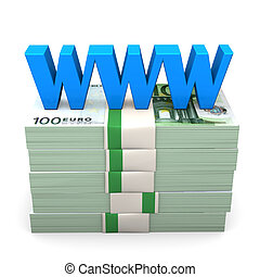 """WWW Euro Money - Euro notes with blue text """"WWW"""". White..."""