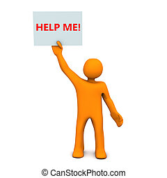 Help Me - Orange cartoon character with sheet of paper and...