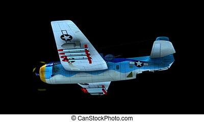 Airplane flying (matte) - Render of bomber Avenger flying on...