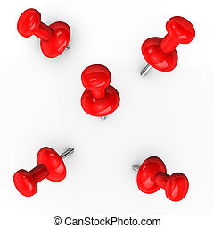 Red Thumbtacks - 3d illustration of red thumbtacks on white...