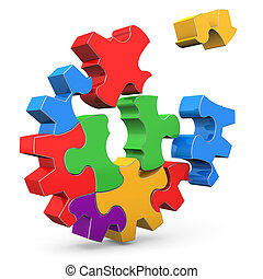 Colorful Gear - Colorful puzzle gear wheel on the white...