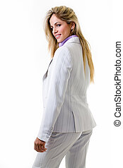 Professional woman - Blond woman in professional light grey...