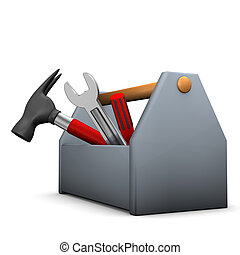 Tool Box - Tool box with wrench, hammer and screwdriver.
