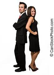 Business couple - Full body of an attractive brunette...