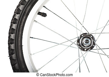 Wheel - Front view of bike wheel isolated over white...