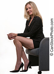 Long legged business woman - Attractive blond woman wearing...