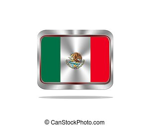 Metal Mexico flag - Illustration with a metal Mexico flag on...