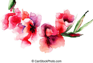 Stylized Gladiolus flowers, Watercolor painting