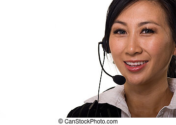 Telephone operator receptionist secretary - Face of a...