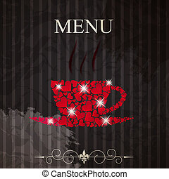 The concept of Restaurant menu on valentines day. Vector illustration