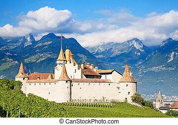 Chateau d'Aigle - Famous castle Chateau d'Aigle in canton...