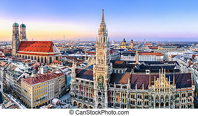Panorama view of Munich city center showing the City Hall...