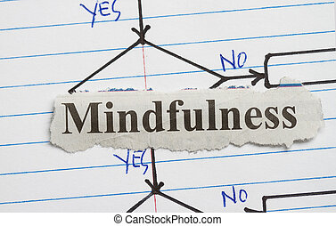 Mindfulness cut out in a flowchart background