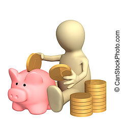 Piggy bank - 3d puppet who is saving money in piggy bank....