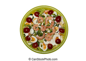 Italian Salad - Salad with eggs tomatoes cheese and shrimps