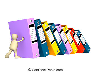Folders - 3d puppet, supporting falling folders. Object over...
