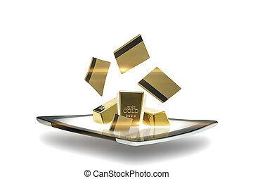 Modern tablet with gold bullion - Conceptual image of a...