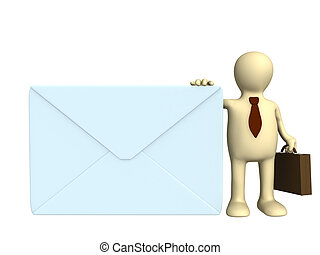 Mail - Puppet - businessman with the big post envelope