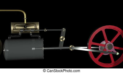 Steam Engine Animation loop HD - Animation of a steam...