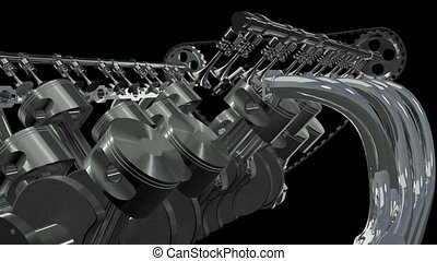 V12 Engine Animation. Loop Alpha - Twelve Cylinder V Motor...