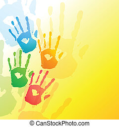 colorful hands background - vector colorful hands design...