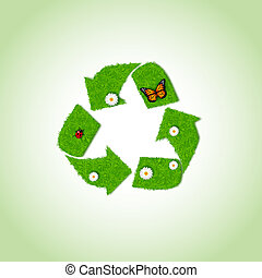 Recycle icon from grass background