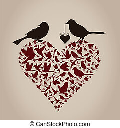 Bird on heart
