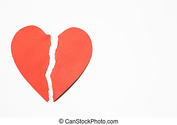 papel, Coração, rasgado, em, metade